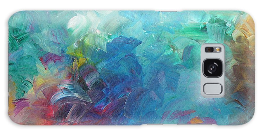 Abstract Galaxy Case featuring the painting Busy Day by Peggy King