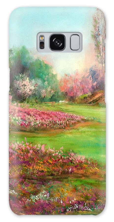 Garden Galaxy S8 Case featuring the painting Butchart Garden by Sally Seago