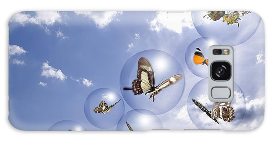 Insects Galaxy Case featuring the photograph Butterflies And Bubbles by Tony Cordoza