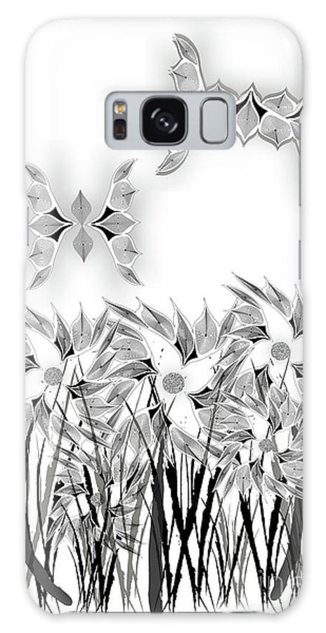 Black And White Galaxy S8 Case featuring the digital art Butterflies And Flowers by Linda Seacord