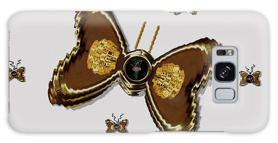 Gold Galaxy S8 Case featuring the mixed media Butterflies For The Worlds Future by Pepita Selles