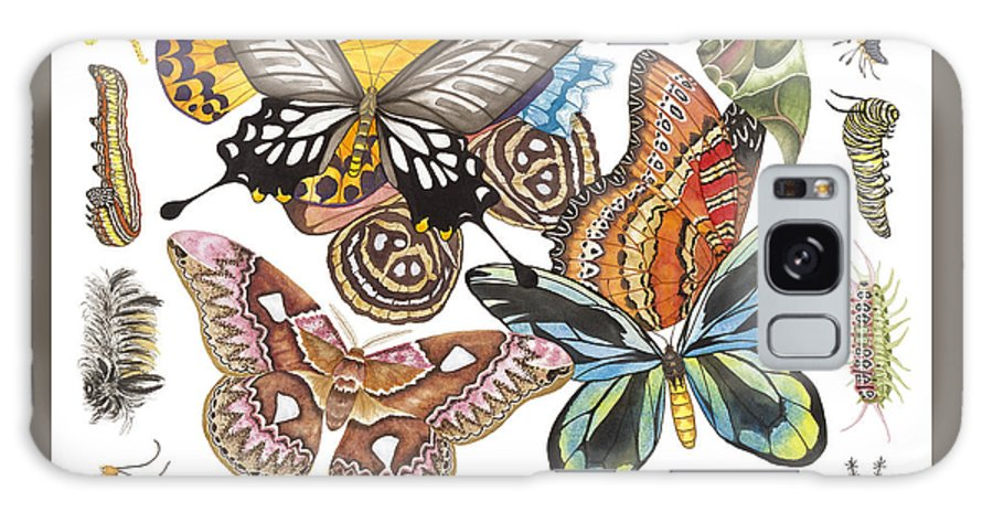 Butterflies Galaxy S8 Case featuring the painting Butterflies Moths Caterpillars by Lucy Arnold