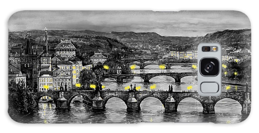 Prague Galaxy S8 Case featuring the painting Bw Prague Bridges by Yuriy Shevchuk