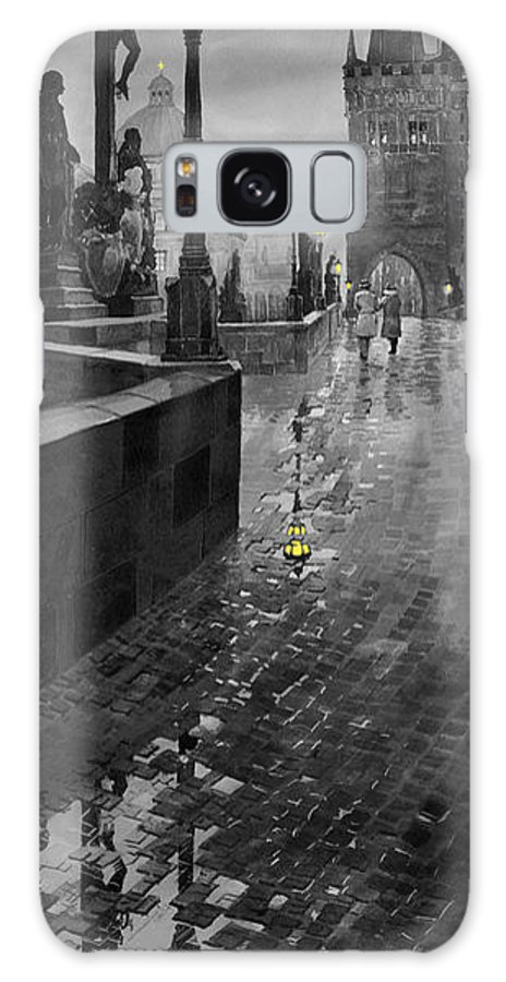 Prague Galaxy S8 Case featuring the painting Bw Prague Charles Bridge 01 by Yuriy Shevchuk