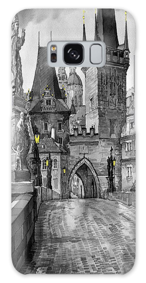 Prague Galaxy S8 Case featuring the painting Bw Prague Charles Bridge 02 by Yuriy Shevchuk