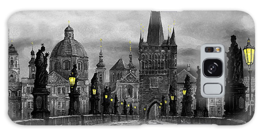 Prague Galaxy Case featuring the painting Bw Prague Charles Bridge 04 by Yuriy Shevchuk