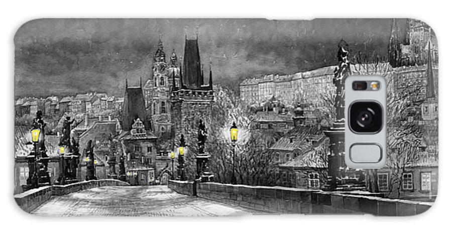 Prague Galaxy S8 Case featuring the painting Bw Prague Charles Bridge 06 by Yuriy Shevchuk