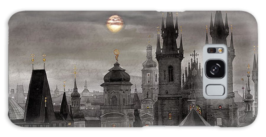 Cityscape Galaxy Case featuring the painting Bw Prague City Of Hundres Spiers by Yuriy Shevchuk