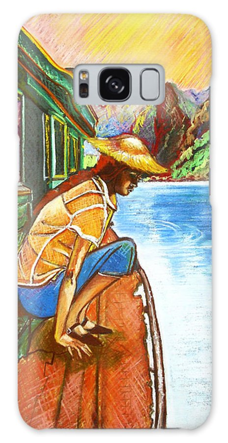 Pastels Galaxy Case featuring the drawing By The River by Yxia Olivares