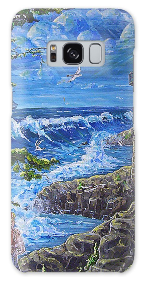 Seascape Galaxy Case featuring the painting By The Sea by Phyllis Mae Richardson Fisher