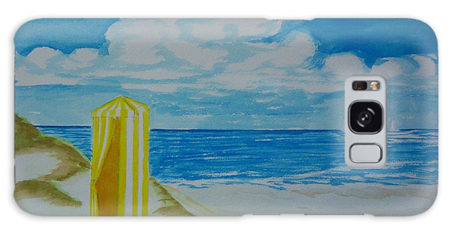 Beach Galaxy S8 Case featuring the painting Cabana On The Beach by Nancy Nuce