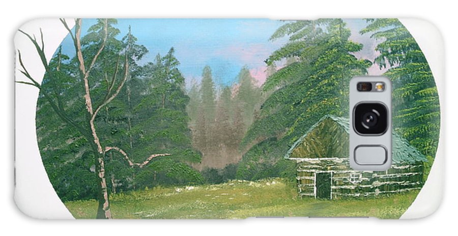 Landscape Galaxy S8 Case featuring the painting Cabin In The Meadow by Jim Saltis