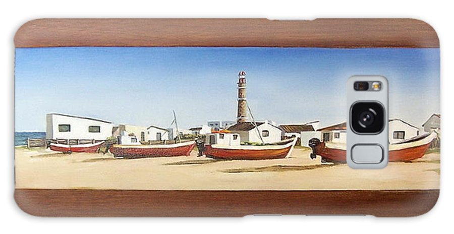 Landscape Seascape Uruguay Beach Boats Sea Lighthouse Galaxy Case featuring the painting Cabo Polonio 2 by Natalia Tejera