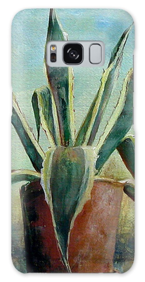 Flower Galaxy S8 Case featuring the painting Cactus 2 by Muriel Dolemieux