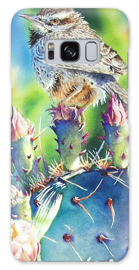 Wren Galaxy S8 Case featuring the painting Cactus Wren by Greg and Linda Halom