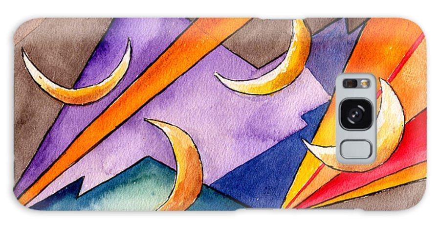 Watercolor Abstract Orange Purple Grey Moon Moons Design Fantasy Surreal Galaxy S8 Case featuring the painting Cadence by Brenda Owen