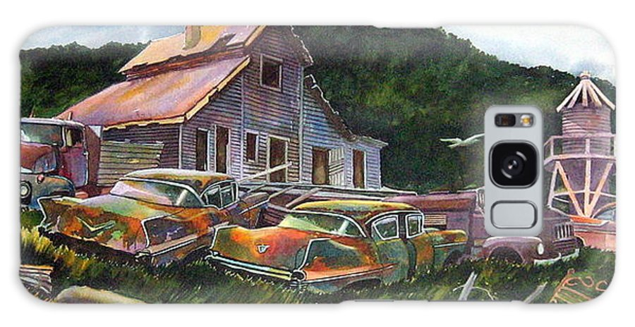 Cadillacs Galaxy S8 Case featuring the painting Cadillac Ranch by Ron Morrison