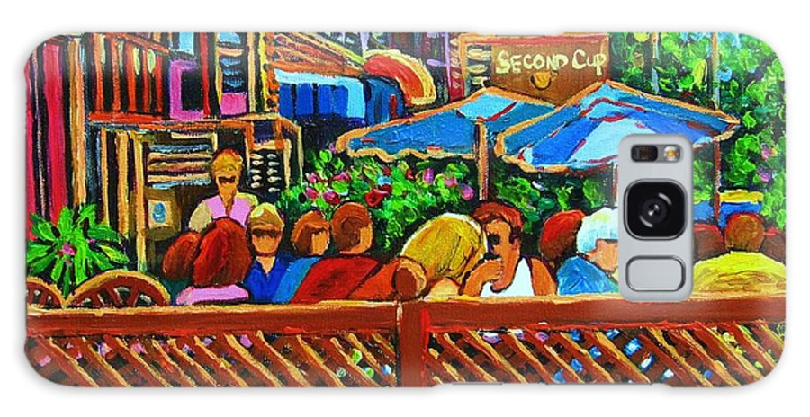 Cafes Galaxy S8 Case featuring the painting Cafe Second Cup by Carole Spandau