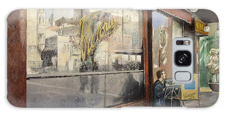 Cafe Galaxy S8 Case featuring the painting Cafe Victoria by Tomas Castano