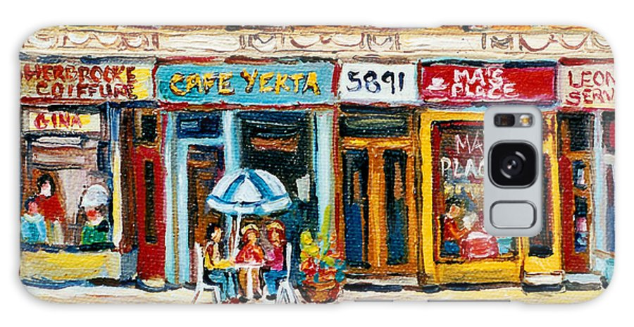 Cafes Galaxy S8 Case featuring the painting Cafe Yenta And Ma's Place by Carole Spandau