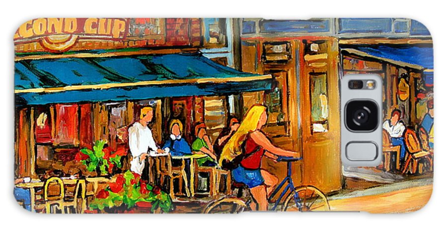 Cafes Galaxy S8 Case featuring the painting Cafes With Blue Awnings by Carole Spandau