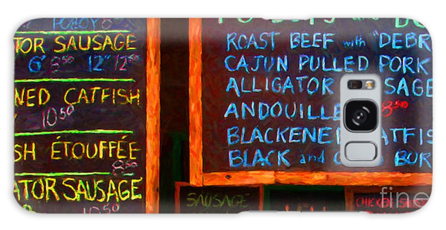 Menu Galaxy S8 Case featuring the photograph Cajun Menu Alligator Sausage Poboy - 20130119 by Wingsdomain Art and Photography