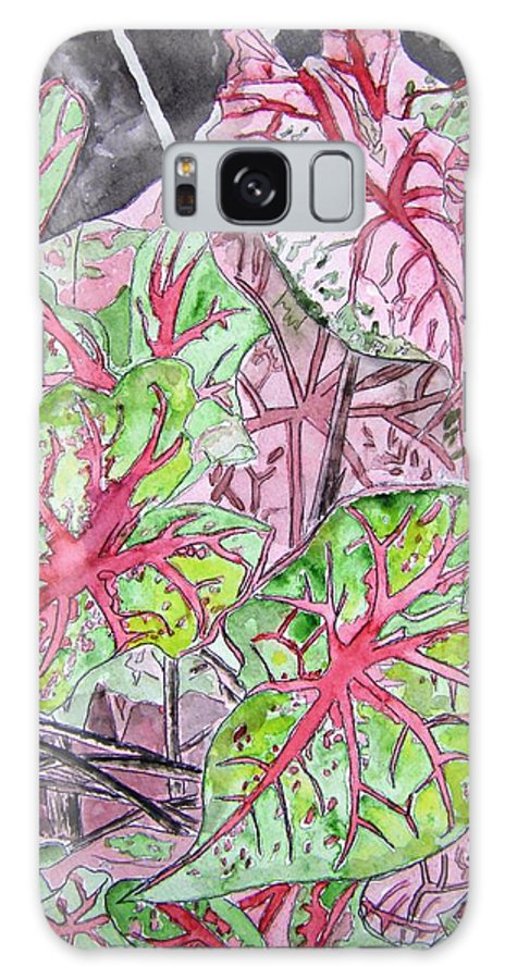 Watercolour Galaxy S8 Case featuring the painting Caladiums Tropical Plant Art by Derek Mccrea