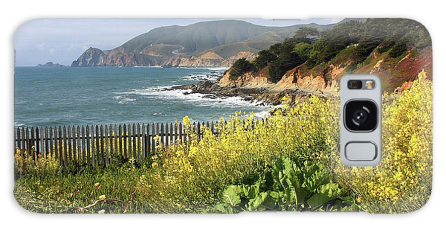 California Galaxy S8 Case featuring the photograph California Coast With Wildflowers And Fence by Carol Groenen