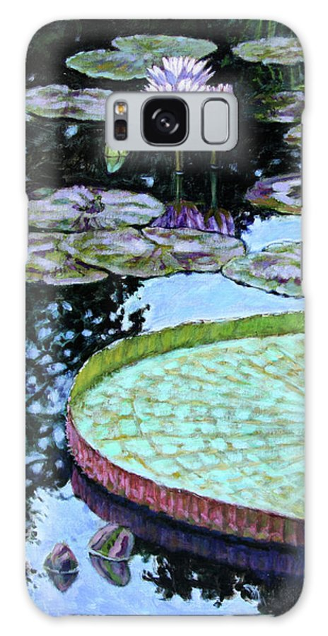 Water Lilies Galaxy Case featuring the painting Calm Reflections by John Lautermilch