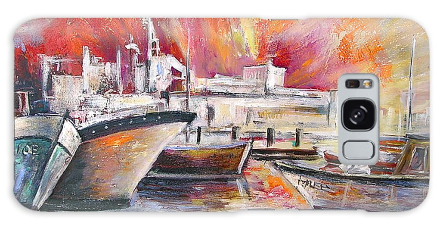 Harbour Painting Spain Seascape Acrylics Galaxy S8 Case featuring the painting Calpe Harbour Spain by Miki De Goodaboom