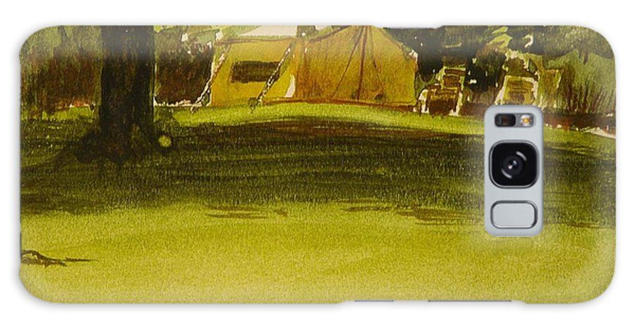 Waltmaes Galaxy S8 Case featuring the painting Camping In My Yellow Tent by Walt Maes