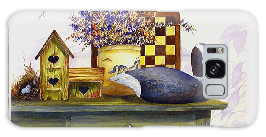 Canada Goose;birdhouse;bird Nest;crock;checkerboard;still Life;country Still Life; Galaxy Case featuring the painting Canada And Checkerboard by Lois Mountz