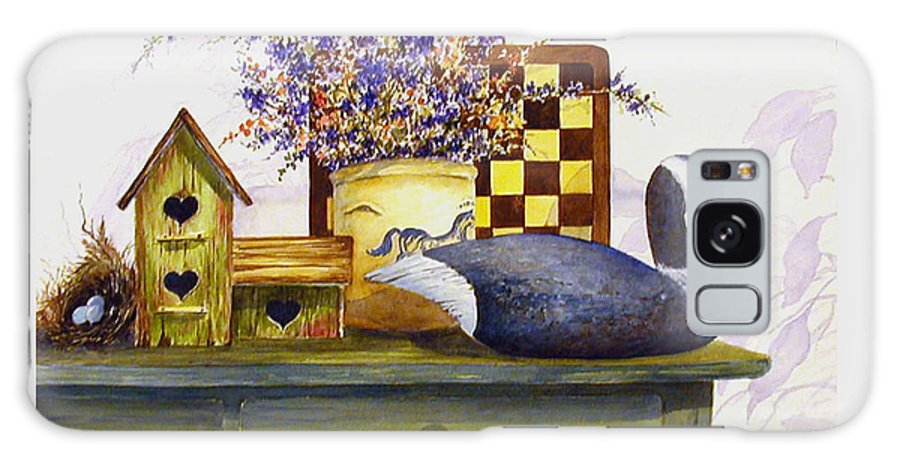 Canada Goose;birdhouse;bird Nest;crock;checkerboard;still Life;country Still Life; Galaxy S8 Case featuring the painting Canada And Checkerboard by Lois Mountz