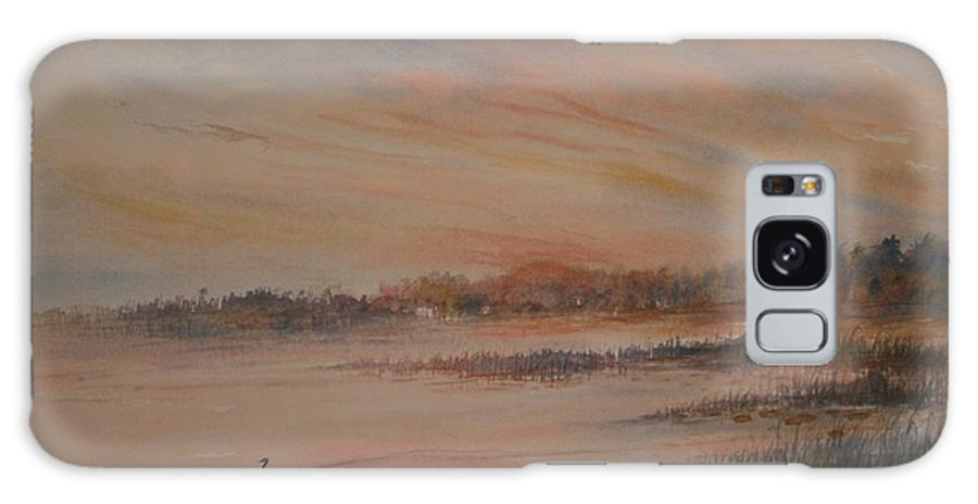 Landscape;geese;birds; Marshes; Sunset Galaxy Case featuring the painting Canadian Geese at Sunset by Ben Kiger