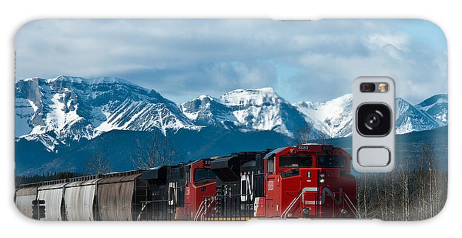 Alberta Galaxy S8 Case featuring the photograph Canadian National Freight Train Leaving The Rockies - Hinton Alberta by R J Ruppenthal