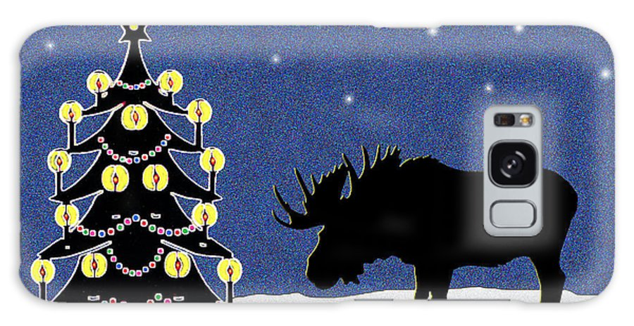 Moose Galaxy S8 Case featuring the digital art Candlelit Christmas Tree And Moose In The Snow by Nancy Mueller