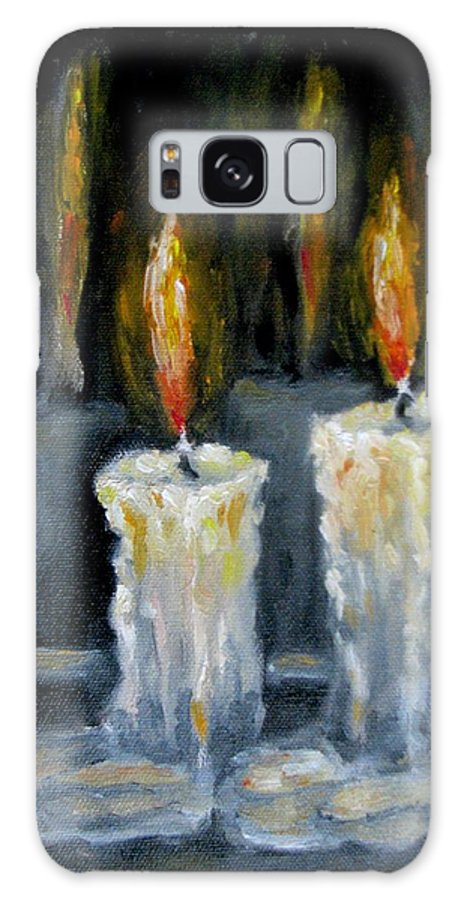Candles Galaxy S8 Case featuring the painting Candles Oil Painting by Natalja Picugina
