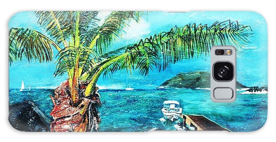 Seascape At Cane Garden Bay With The Horizon With The Blue Sky And Blue Sea With The Dock Disappearing Perspective. The Dark Igneous Rocks And Islands Sitting On The Horizon.  Galaxy S8 Case featuring the painting Cane Garden Bay Tortola 1997 by Andre Francis
