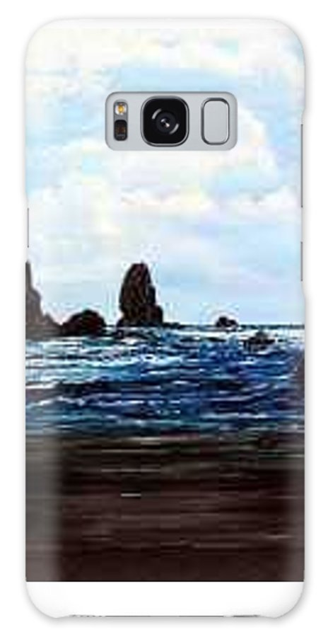 This Is Cannon Beach Oregon. This Painting Is Framed In A Lovely Gold Tone Frame. Galaxy Case featuring the painting Cannon Beach by Darla Boljat