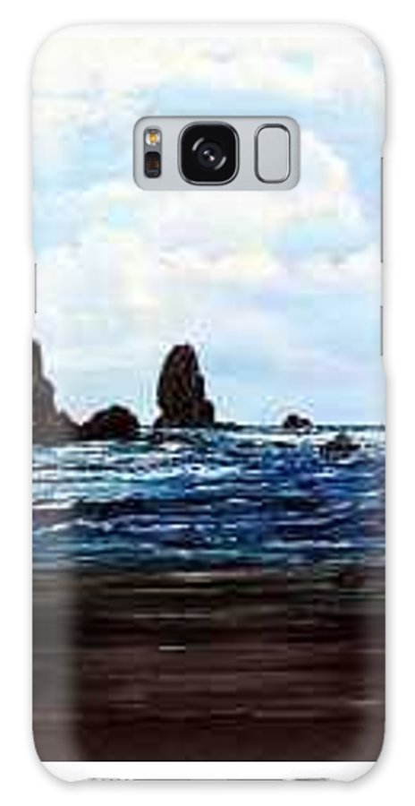 This Is Cannon Beach Oregon. This Painting Is Framed In A Lovely Gold Tone Frame. Galaxy S8 Case featuring the painting Cannon Beach by Darla Boljat