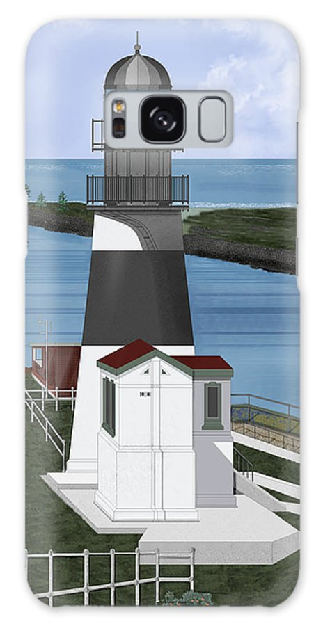 Lighthouse Galaxy S8 Case featuring the painting Cape Disappointment At Fort Canby Washington by Anne Norskog