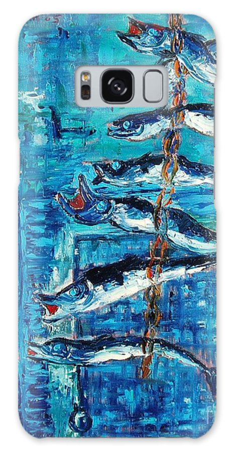 Fish Painting Galaxy S8 Case featuring the painting Caplin by Seon-Jeong Kim