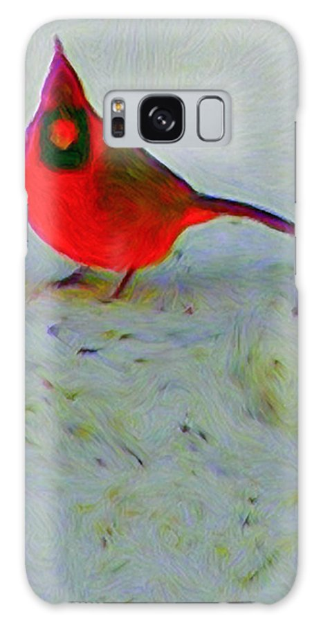 Cardinal Galaxy Case featuring the painting Cardinal In Winter by Kenneth Krolikowski