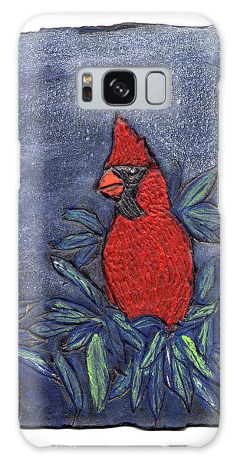 Bird Galaxy S8 Case featuring the painting Cardinal In Winter by Wayne Potrafka