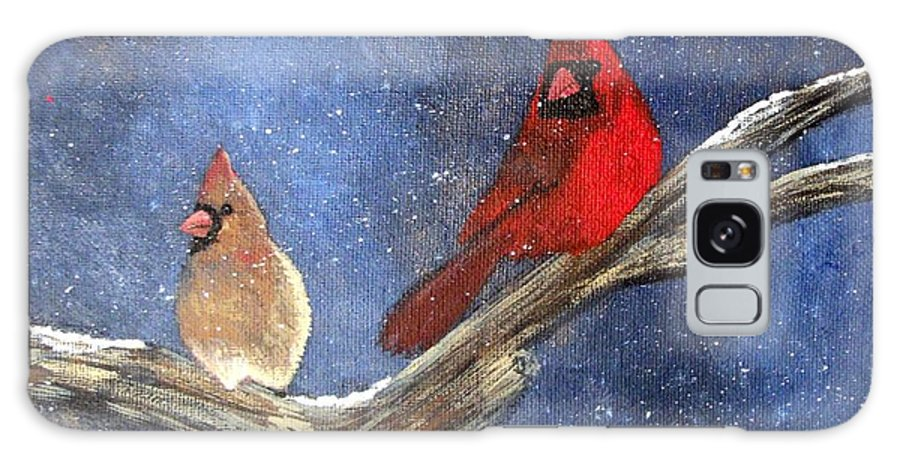 Cardianl Painting Galaxy Case featuring the painting Cardinal love by Tami Booher
