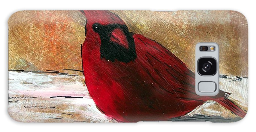 Cardinal Galaxy Case featuring the painting Cardinal by Tami Booher
