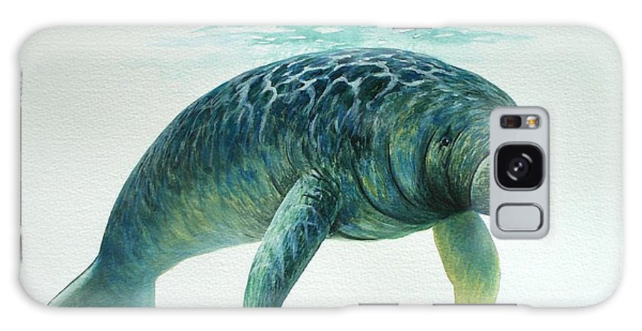 Manatee Galaxy S8 Case featuring the painting Caribbean Manatee by Christopher Cox
