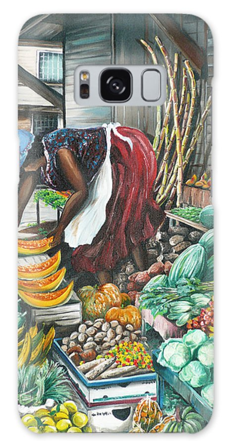 Caribbean Painting Market Vendor Painting Caribbean Market Painting Fruit Painting Vegetable Painting Woman Painting Tropical Painting City Scape Trinidad And Tobago Painting Typical Roadside Market Vendor In Trinidad Galaxy S8 Case featuring the painting Caribbean Market Day by Karin Dawn Kelshall- Best