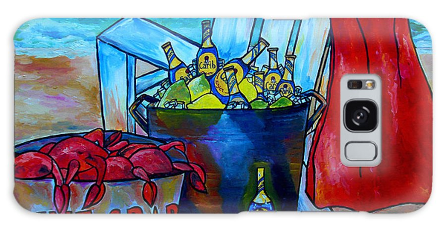 Caribe Beer Galaxy S8 Case featuring the painting Caribe And Crab by Patti Schermerhorn