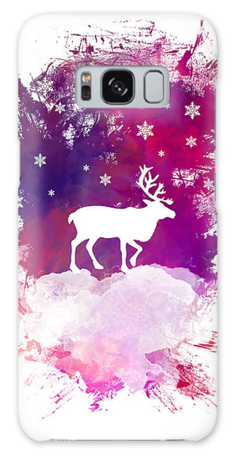 Caribou Galaxy S8 Case featuring the digital art Caribou Winter Art by Justyna JBJart